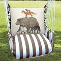 "Bear Hammock Chair Swing Go Wild ""Striped Chocolate"" | Magnolia Casual | SCMLT701-SP-2"