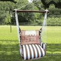 "Birds on Ironwork Hammock Chair Swing ""Striped Chocolate"" | Magnolia Casual | SCTC602-SP"