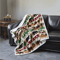 Bear and Moose Flannel Sherpa Throw Blanket | Christmas Wilderness | DTR684