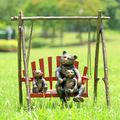 Bear and Cubs on Porch Swing Garden Sculpture | SPI Home | 34791