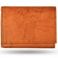 Deer Head Leather Men's Trifold Wallet