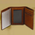 Deer Head Men's Leather Trifold Brown Wallet -2