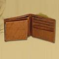 Deer Pair Leather Bifold Brown Wallet -2