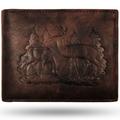 Deer Pair Leather Bifold Brown Wallet