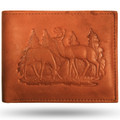 Deer Buck and Doe Scene Leather Bifold Wallet