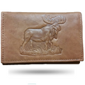 Moose Men's Leather Trifold Tan Wallet