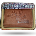 Deer Head Scene Men's Leather Trifold Tan Wallet | Rico | 60001-328 -2