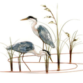 Double Herons Enameled Copper Wall Art | Bovano of Cheshire