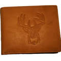 Deer Head All Leather Bifold Wallet