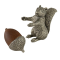Squirrel with Wood Acorn Pewter Salt Pepper Shakers | Vagabond House | S116W -3