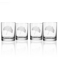 Ginkgo Engraved Double Old Fashioned Glass Set of 4 | Rolf Glass | 703008