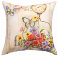 Butterfly and Flowers Indoor Outdoor Throw Pillow | SLFRFW -2