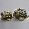 Green Turtle Family Ceramic Figurine Set of 2 | De Rosa | F179-F379