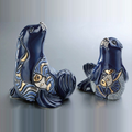 Blue Seal Family Ceramic Figurine Set of 2 | De Rosa | F149-F349