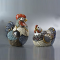 Hen and Rooster Family Ceramic Figurine Set of 2 | De Rosa | F109-F110