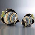 Butterfly Fish Family Ceramic Figurine Set of 2 | De Rosa | F154-F354