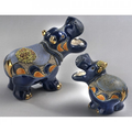 Hippo with Water Lily Family Ceramic Figurine Set of 2 | De Rosa | F167-F367