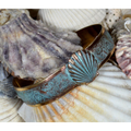 Scallop Shell Verdigris Patina Solid Brass Cuff Bracelet | Elaine Coyne Jewelry | Nature Jewelry | ECGOCP4852BC
