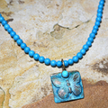 Butterfly Verdigris Patina Solid Brass Turquoise Necklace   Elaine Coyne Jewelry   ECGBUP129NTU
