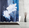 White Flower Fabric Shower Curtain | Peaceful Shower Curtain | Moda at Home