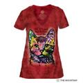 9 Lives Cat Women's Tri-Blend V-Neck T-Shirt | The Mountain | 415773 | Cat T-Shirt
