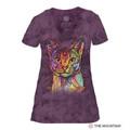 Abyssinian Cat Women's Tri-Blend V-Neck T-Shirt | The Mountain | 413851 | Cat T-Shirt