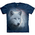 Patriotic White Wolf Unisex Cotton T-Shirt | The Mountain | 105967 | Wolf T-Shirt