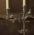 Oak Leaf 3-Taper Pewter Candelabrum Candle Holder   Vagabond House   L101M