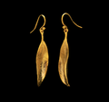 Eucalyptus Single Leaf Gold Wire Earrings   Michael Michaud   4014V   Nature Jewelry