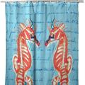 "Seahorses Shower Curtain ""Coral Seahorse"" | BDSH100B"
