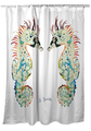 Betsy's Seahorses White Shower Curtain   BDSH388W