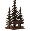 Deer and 3 Pine Rust Streaked Iron Table Lamp | Coast Lamp | 12-R9D
