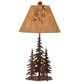 4 Pines Rust Iron Table Lamp with Pinecone Shade | Coast Lamp | 12-R31C