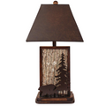 Bear and Tree Poplar Bark Aspen Bronze Iron Table Lamp | Coast Lamp | 17-R24C
