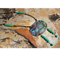 Buffalo Verdigris Brass Turquoise Necklace   Elaine Coyne Jewelry   BP916N