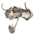 Wildebeest Animal Mask Recycled Metal Wall Art   Mbare   RCTM-W
