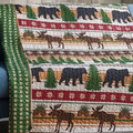 "Bear and Moose Quilted Throw Blanket ""Christmas Wilderness"" 