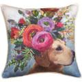 Dogs in Bloom Labrador Floral Throw Pillow   SLDIBL