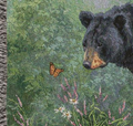 Black Bear Butterfly Watching Tapestry Throw Blanket | Manual Woodworkers | ATBWB