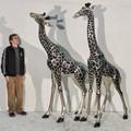 Silver Tone Giraffe Pair Bronze Outdoor Large Statues | Metropolitan Galleries | SRB15043A&B-SP
