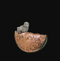 "Frida Kahlo Owl and Watermelon Silver Plated Sculpture ""Viva la Vida"" 