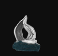 Sailboat on Windy Sea Abstract Silver Plated Sculpture   58   D'Argenta