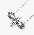 Ornate Bee Pendant Sterling Silver Necklace | Silver Spoon Jewelry| SSJ-ND-Bee