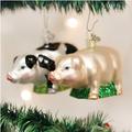 Black and White Big Pig Glass Ornament | OWC12121b