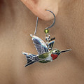 Ruby Throated Hummingbird Cloisonne Wire Earrings | Bamboo Jewelry | BJ0107e -2