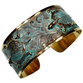 Box Turtle Floral Verdigris Brass Cuff Bracelet   Nature Jewelry