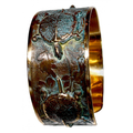Box Turtle Floral Verdigris Brass Cuff Bracelet | Nature Jewelry