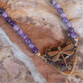 Dragonfly Brass Dogtooth Amethyst Heart Necklace | Elaine Coyne Jewelry | ECGNVB788n -2