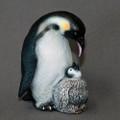 Penguin Bronze Mama & Baby Sculpture   Barry Stein   BBSMAM1-MB