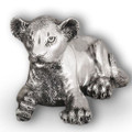 Silver Lion Cub Laying Sculpture | A57 | D'Argenta